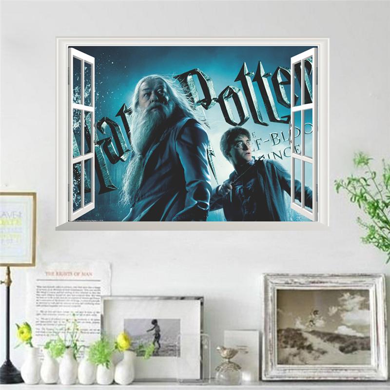 Samolepka Harry Potter a Brumbál v okně