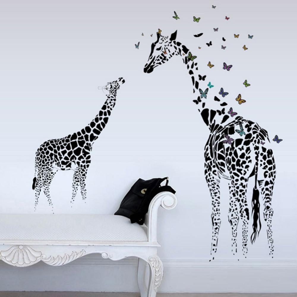 Samolepka Malá a velká žirafa s motýlky