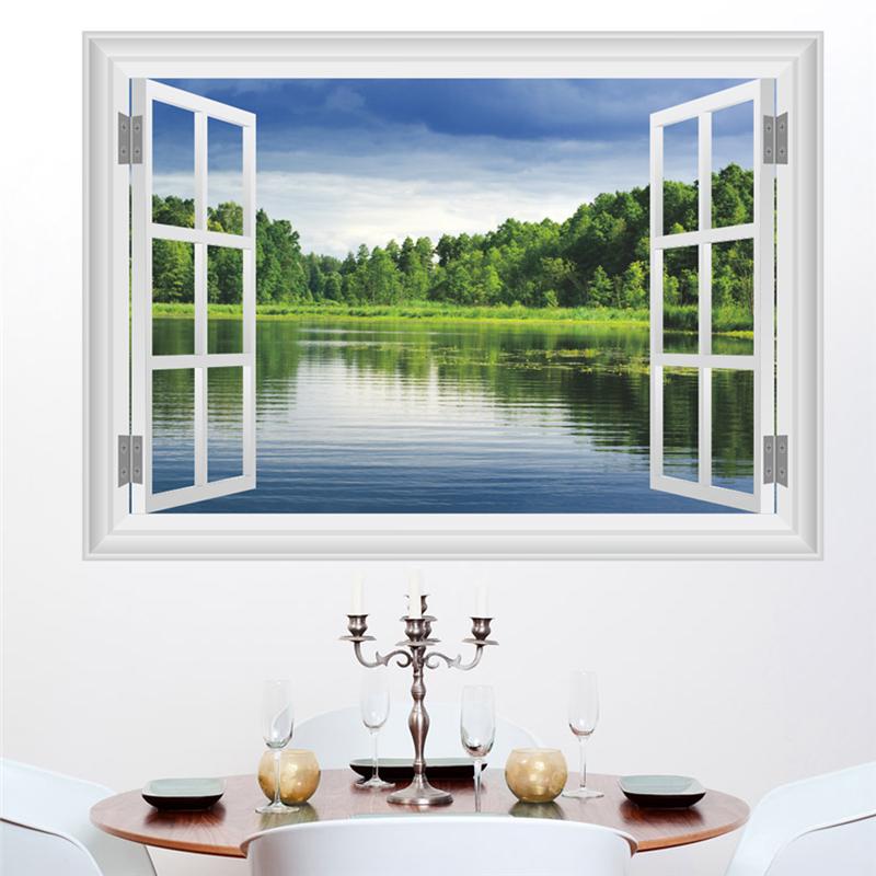 Samolepka Okno s výhledem na jezero