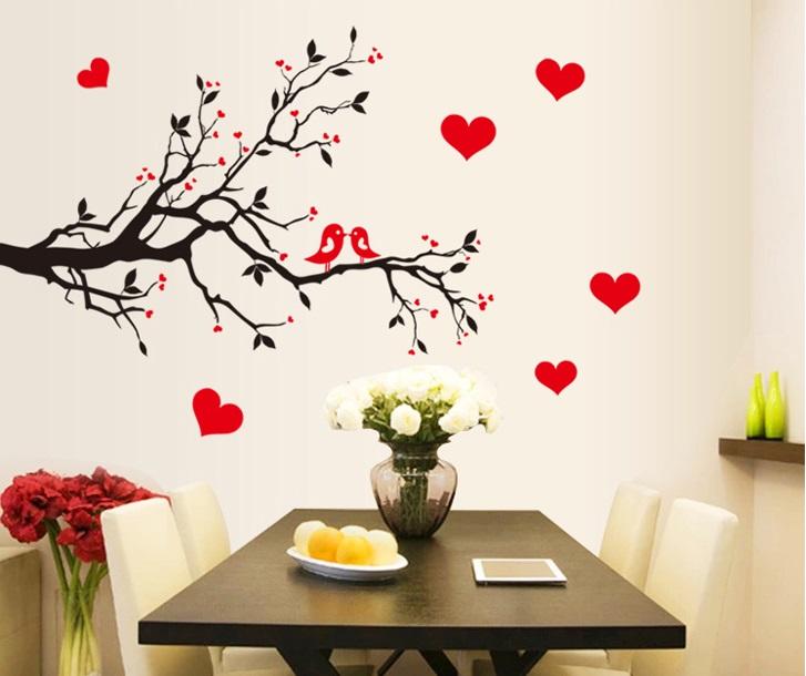 samolepka Zamilovaní ptáčci na větvi