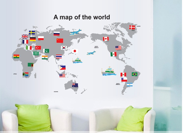 Samolepka Mapa Světa s vlajkami