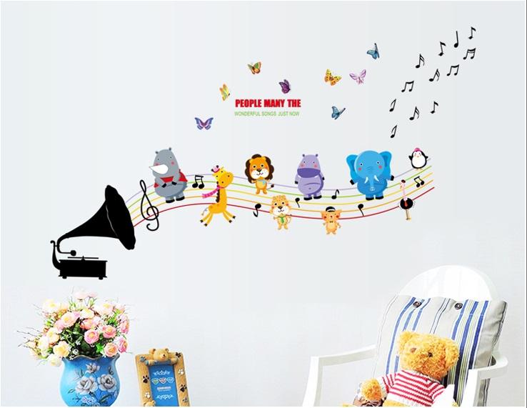 Samolepka Dětský gramofon se zvířátky