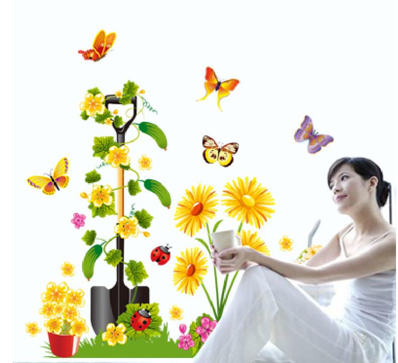 Samolepka Rýč s květy