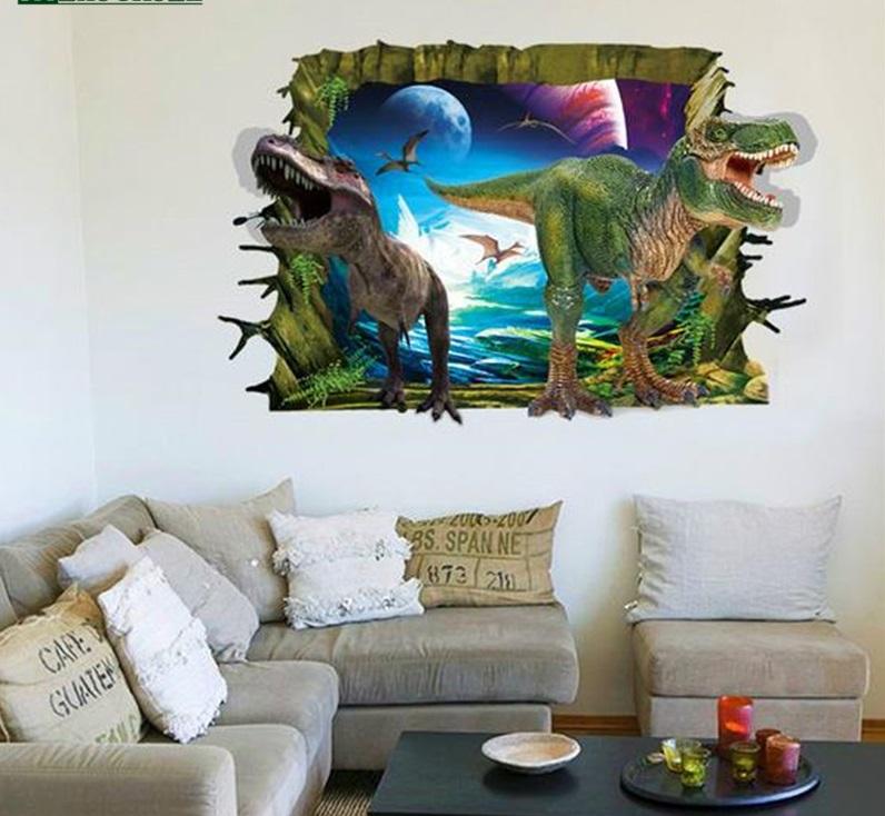 Samolepka 3D Dinosauři útočí