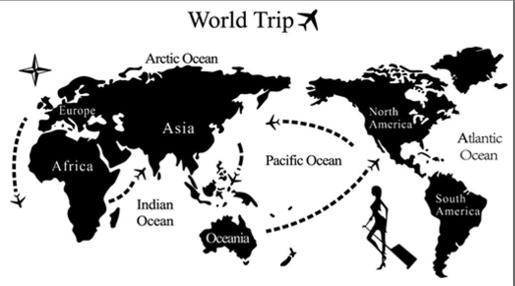 Samolepka Mapa cesta kolem Světa