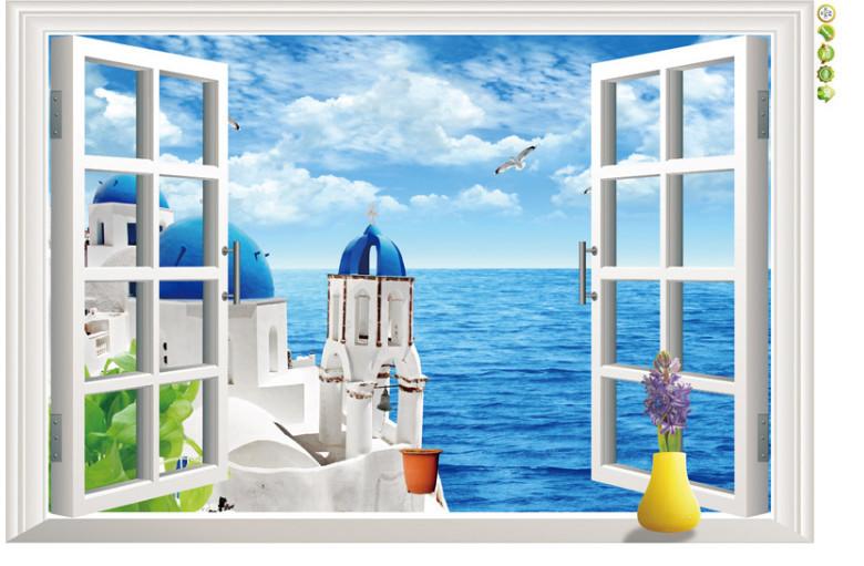 Samolepka Okno s výhledem na Řecko