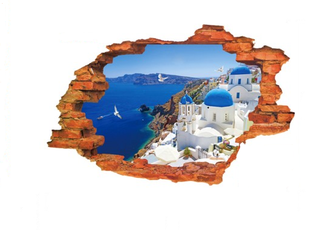 3D Samolepka Výhled na Řecko