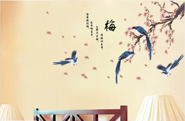 samolepka Rozkvetlá větev s ptáky