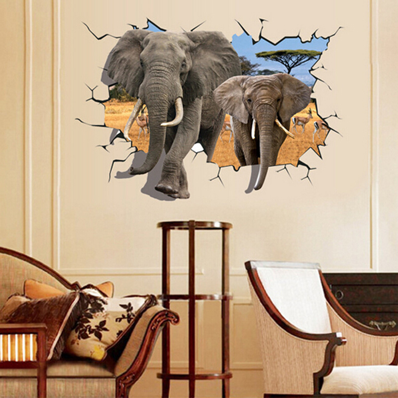 Samolepka 3D Sloni