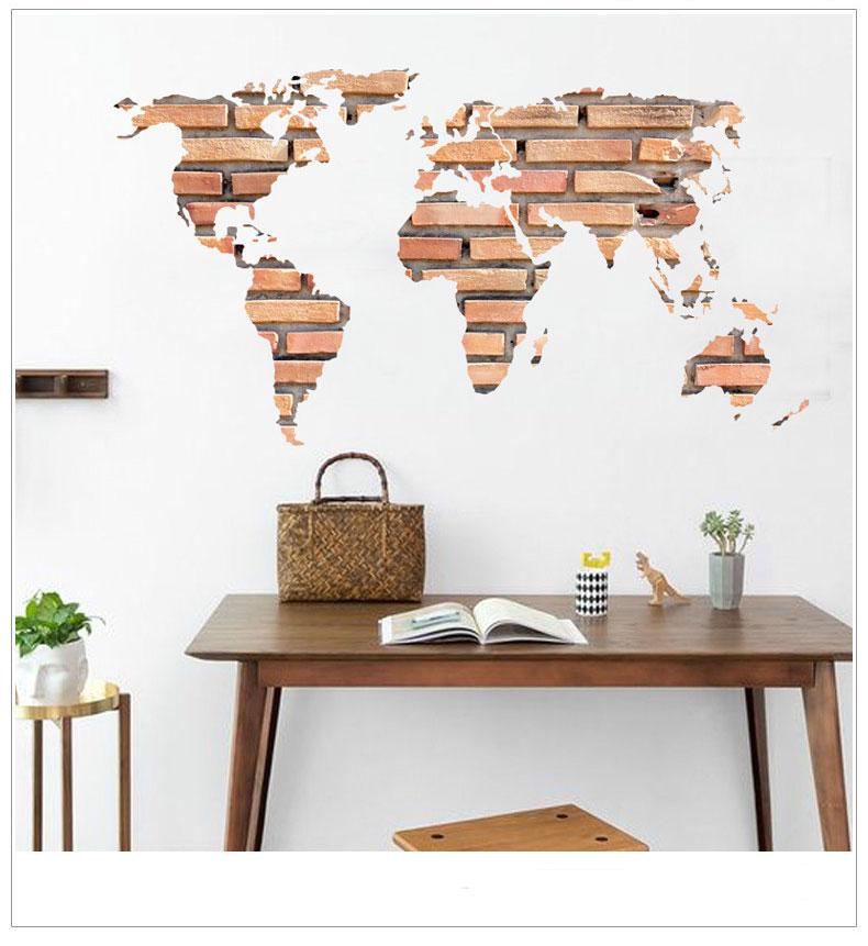 Samolepka Mapa Světa z cihel