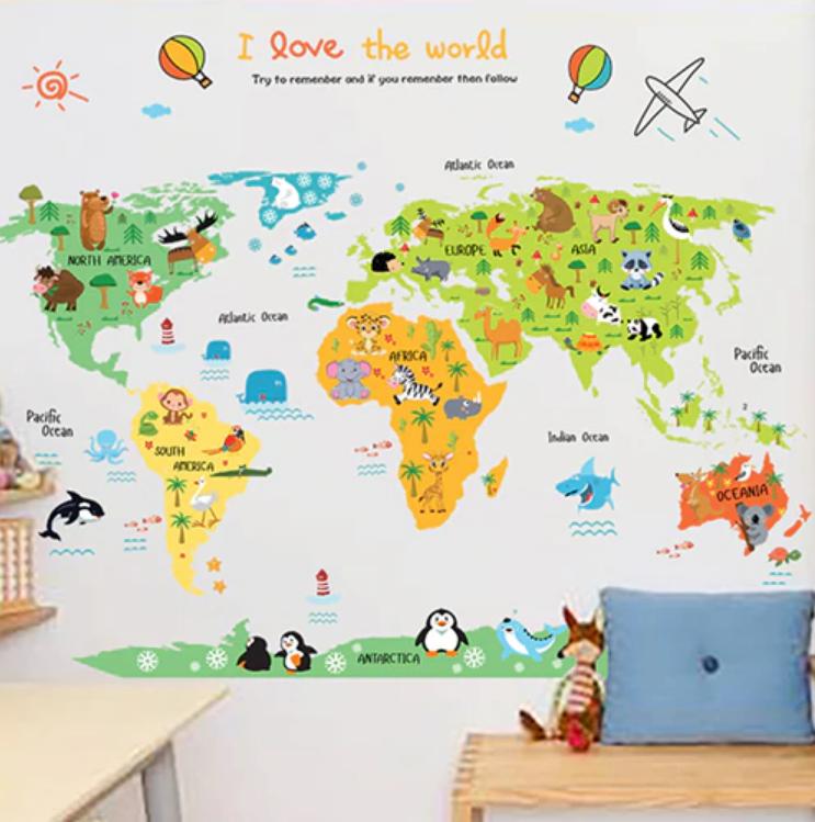 Samolepka Dětská barevná mapa Světa