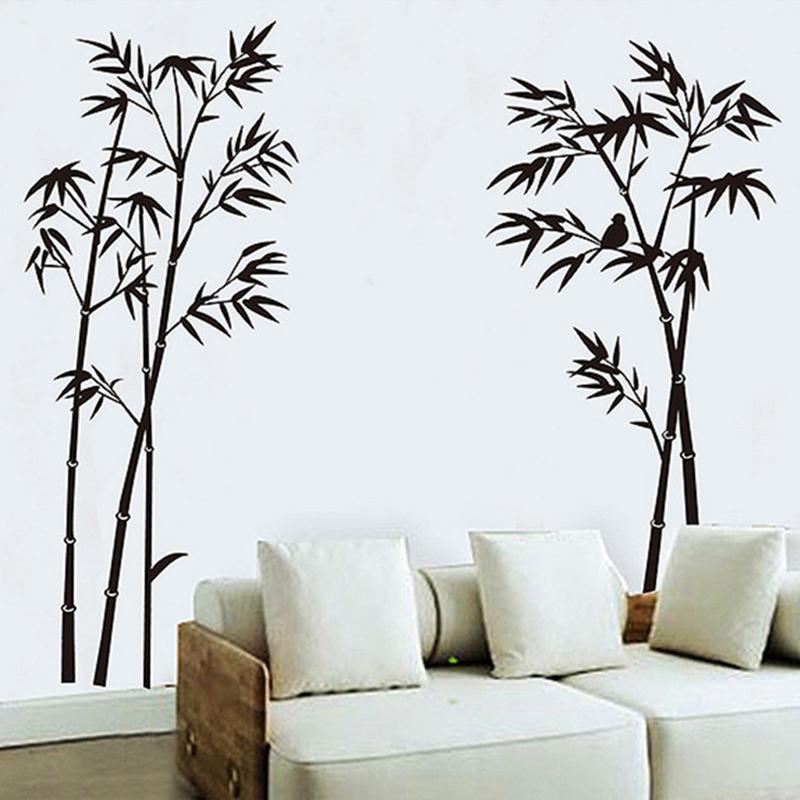 Samolepka Černé stromky s ptáčkem
