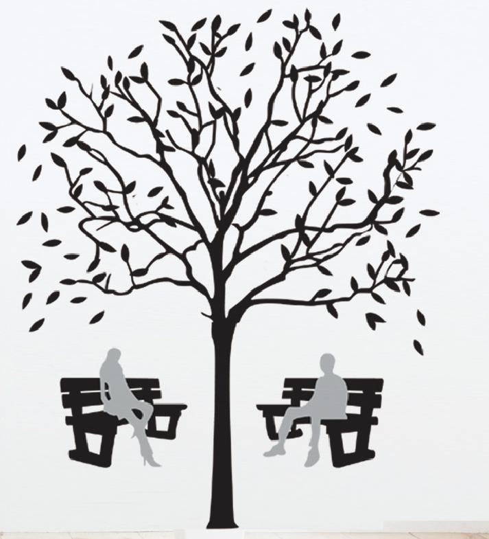 Samolepka Lavičky pod korunami stromů