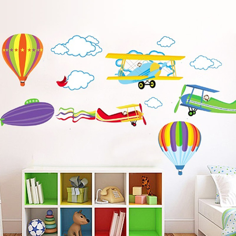 Samolepka Létající balony a letadla
