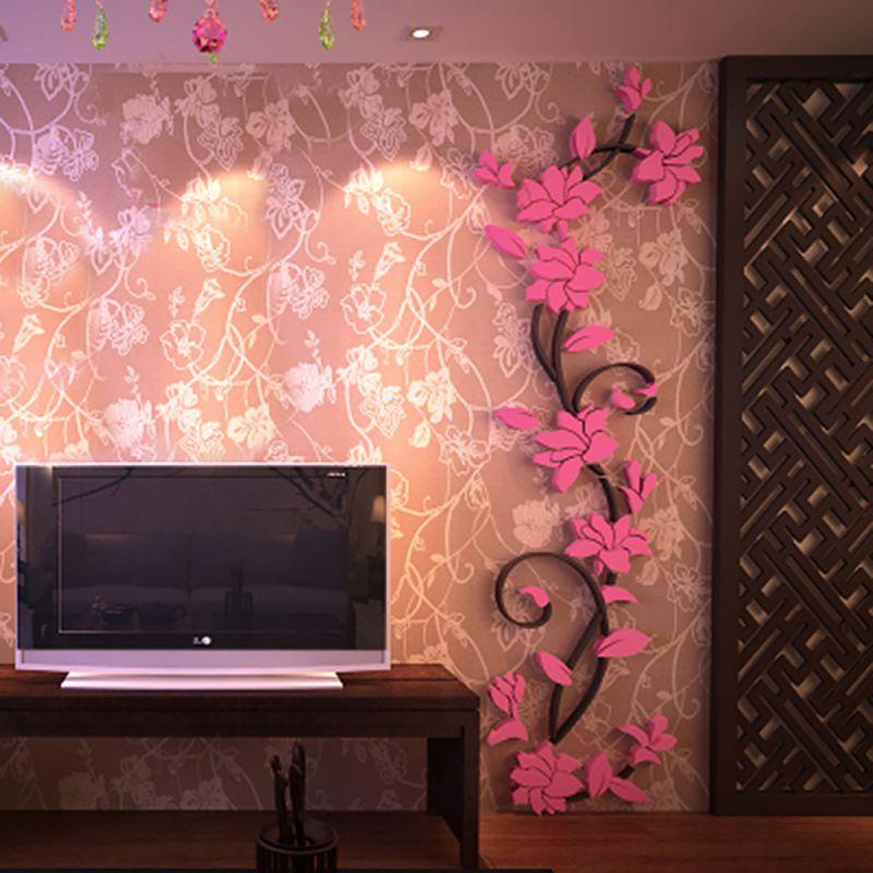 Samolepka Světle růžové 3D Kytky