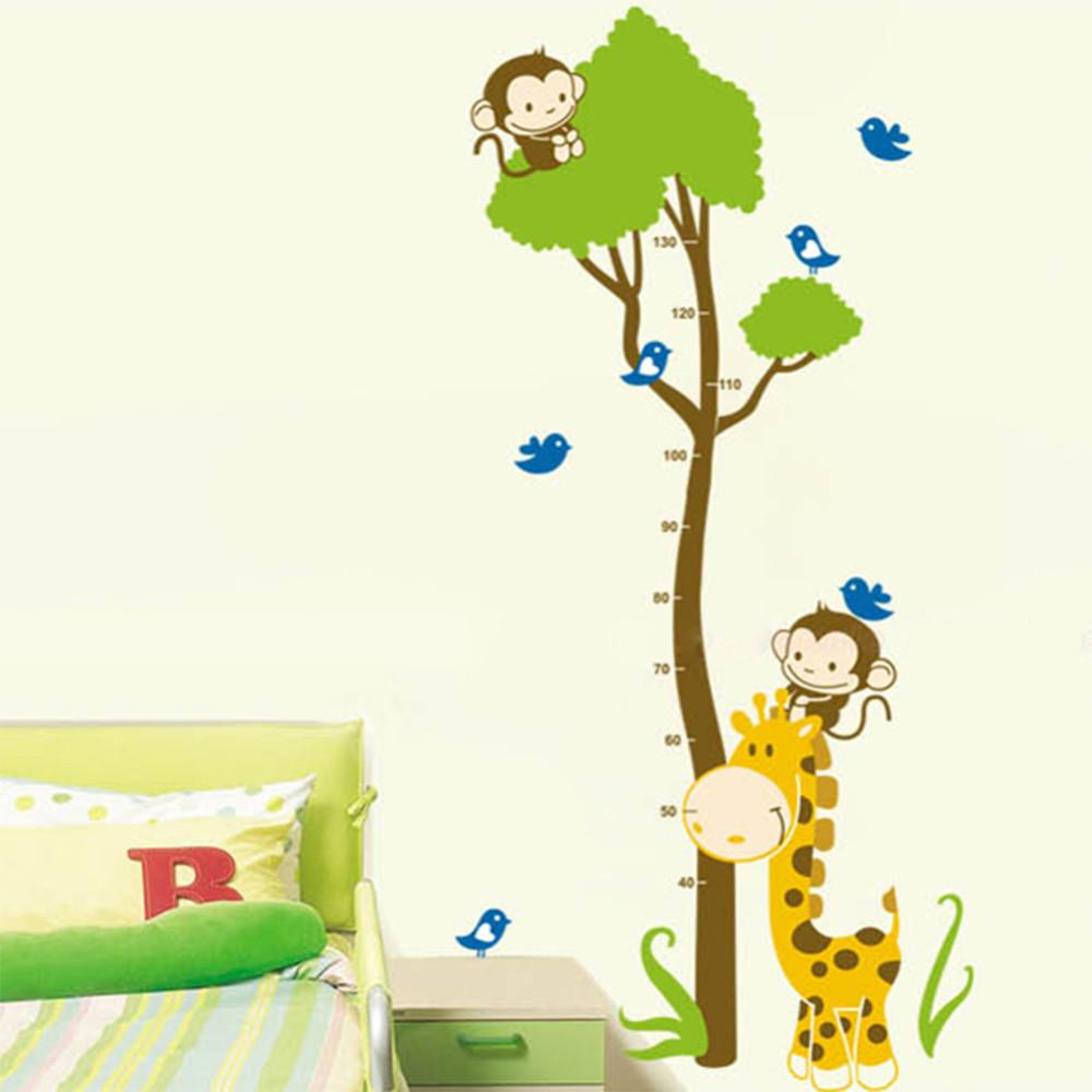 Samolepka metr Žirafa s opičkami