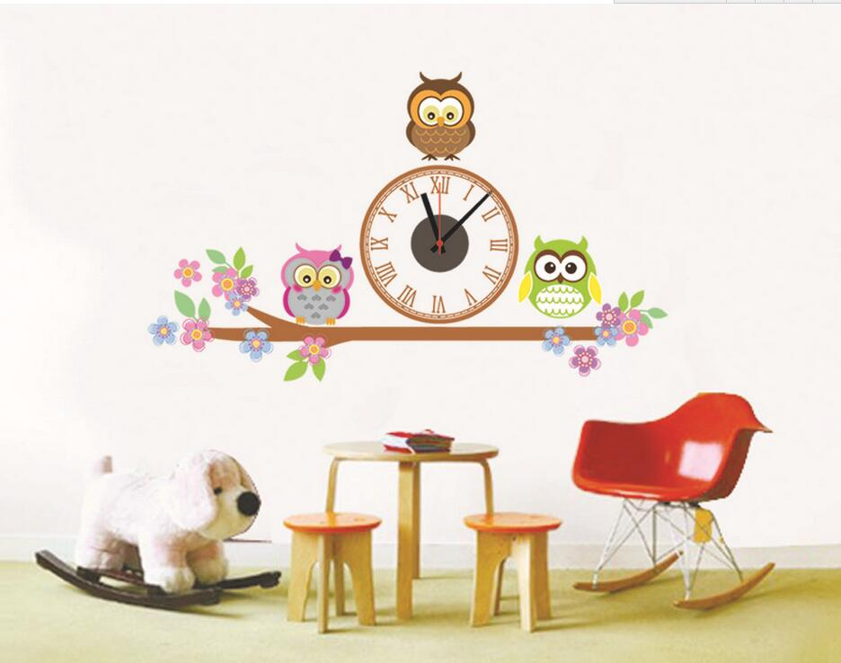Samolepící dětské hodiny Sovičky