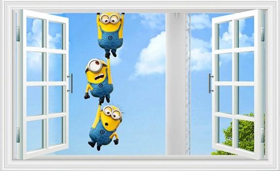 Samolepka Mimoni za oknem