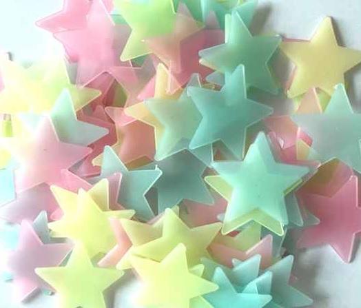 Svítící fosforové barevné hvězdičky 80 ks