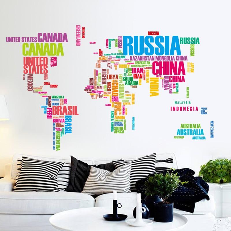 Samolepka Barevná mapa Světa