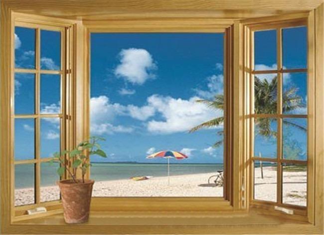 Samolepka Okno na pláži