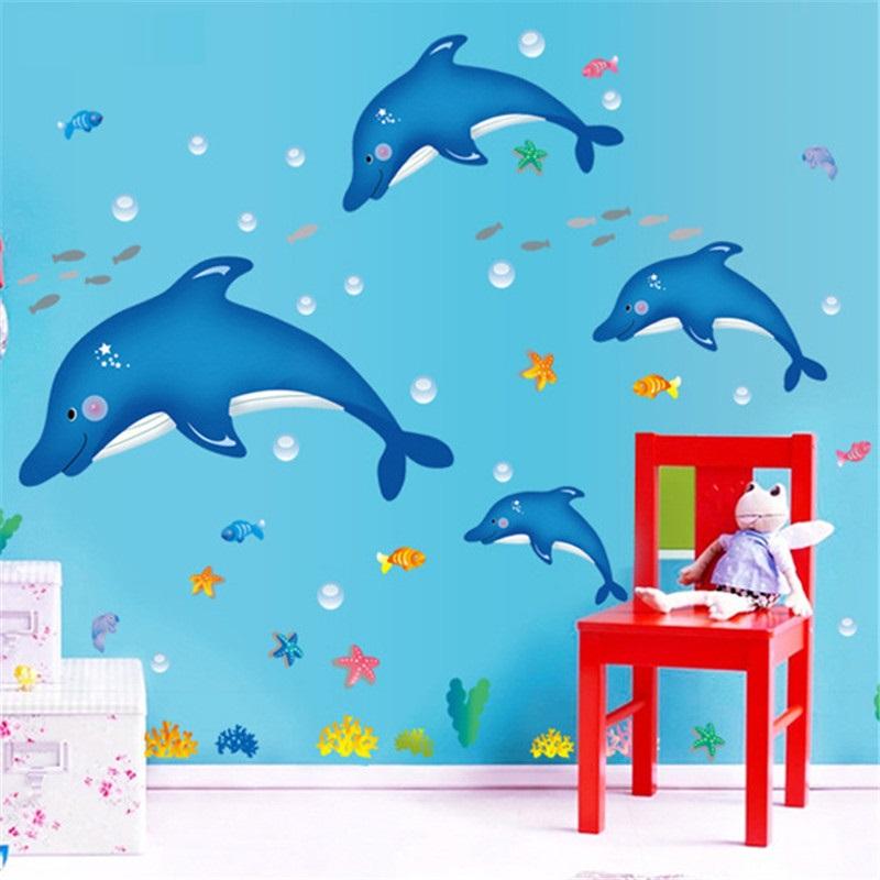 Samolepka Modří delfíni
