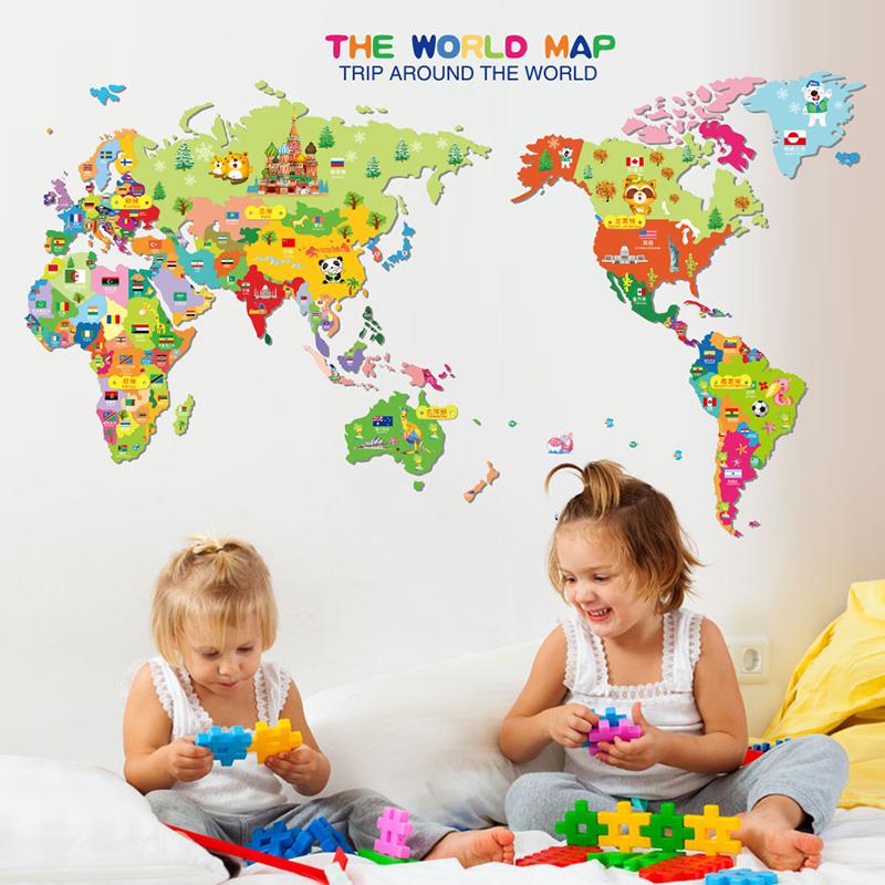 Samolepka Barevná dětská mapa Světa