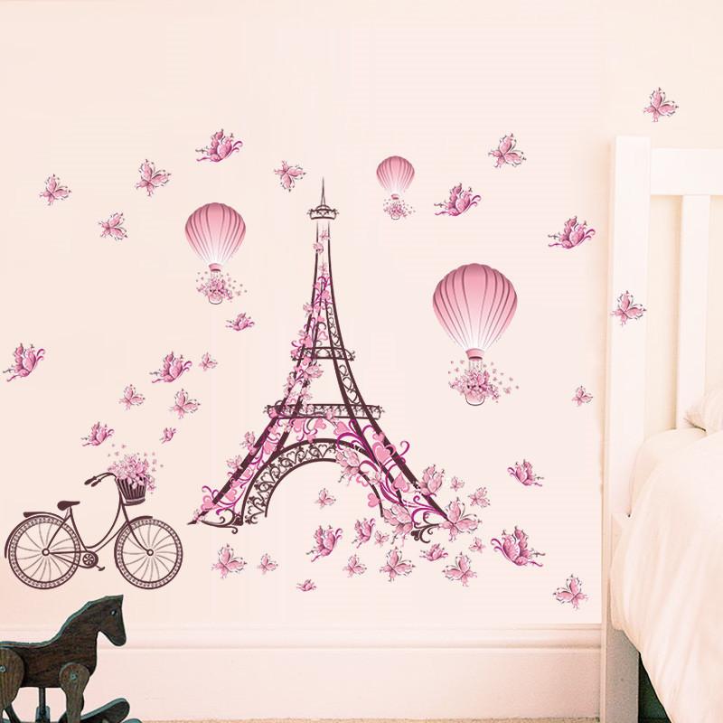 Samolepka Eiffelova věž s motýlky