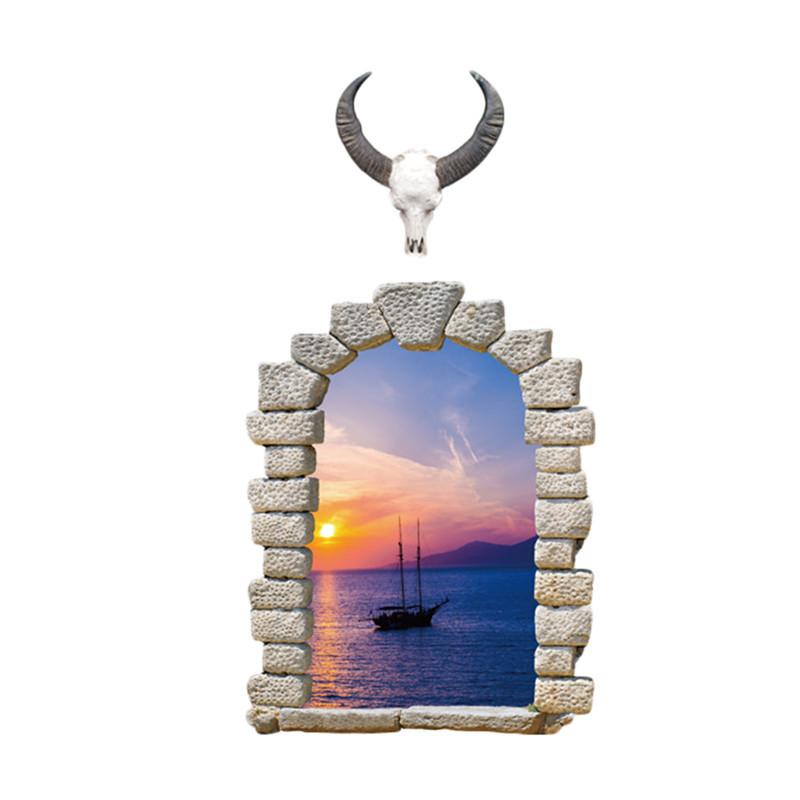 Samolepka Okno s výhledem na plachetnici